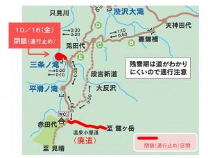 20151016三条の滝展望台閉鎖